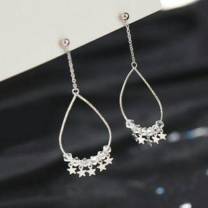 Jewelry - Sterling Silver stars & crystal dangling earring
